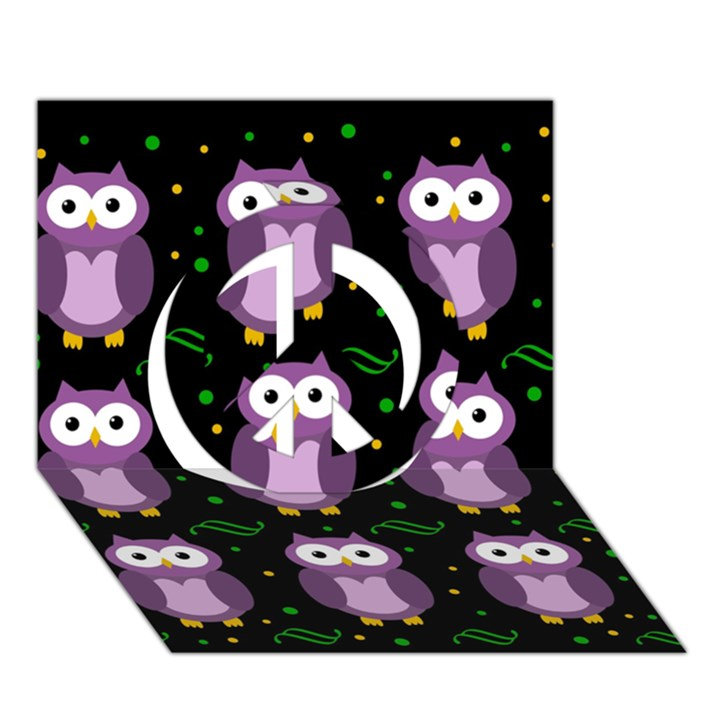Halloween purple owls pattern Peace Sign 3D Greeting Card (7x5)