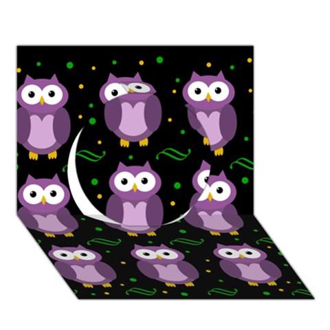 Halloween purple owls pattern Circle 3D Greeting Card (7x5)