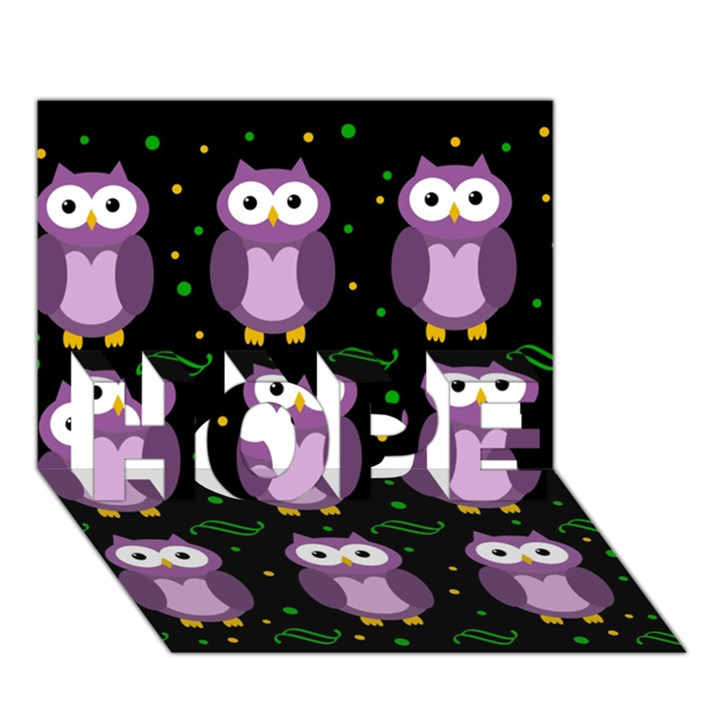 Halloween purple owls pattern HOPE 3D Greeting Card (7x5)