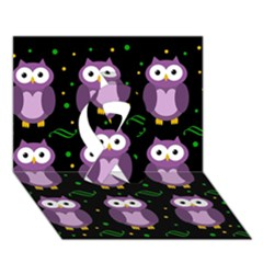 Halloween purple owls pattern Ribbon 3D Greeting Card (7x5)