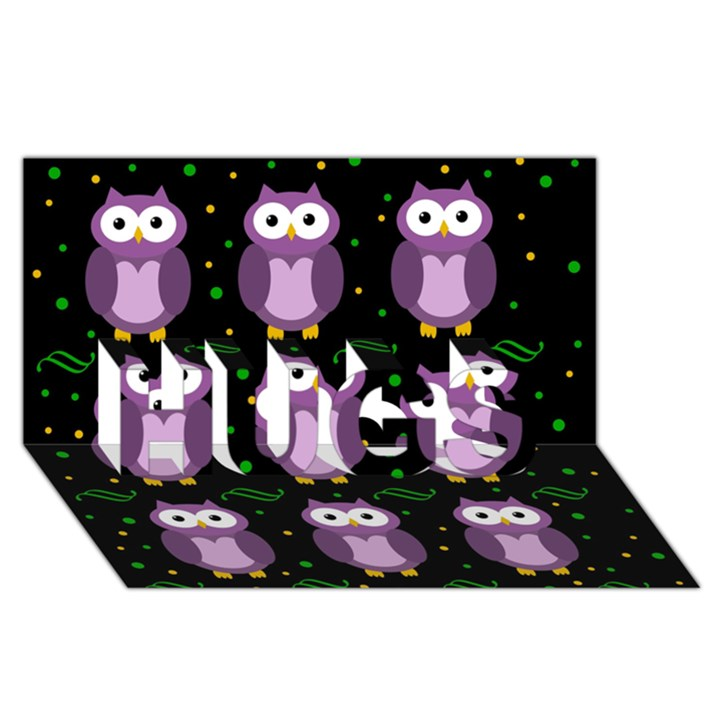 Halloween purple owls pattern HUGS 3D Greeting Card (8x4)