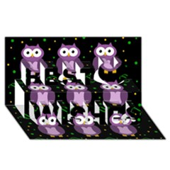 Halloween purple owls pattern Best Wish 3D Greeting Card (8x4)