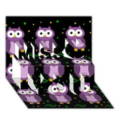 Halloween purple owls pattern Miss You 3D Greeting Card (7x5)