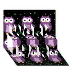 Halloween Purple Owls Pattern Work Hard 3d Greeting Card (7x5)