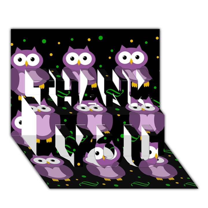 Halloween purple owls pattern THANK YOU 3D Greeting Card (7x5)