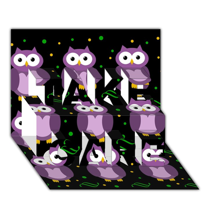 Halloween purple owls pattern TAKE CARE 3D Greeting Card (7x5)