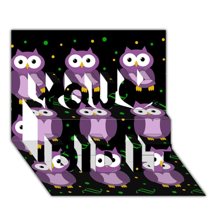 Halloween purple owls pattern You Did It 3D Greeting Card (7x5)