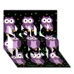Halloween Purple Owls Pattern You Rock 3d Greeting Card (7x5)