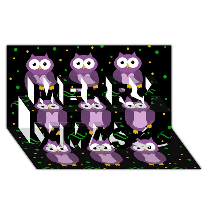 Halloween purple owls pattern Merry Xmas 3D Greeting Card (8x4)