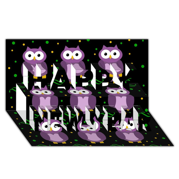 Halloween purple owls pattern Happy New Year 3D Greeting Card (8x4)