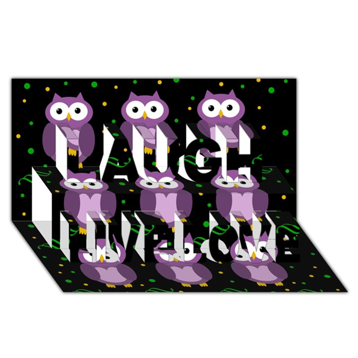 Halloween purple owls pattern Laugh Live Love 3D Greeting Card (8x4)