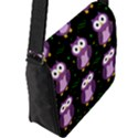 Halloween purple owls pattern Flap Messenger Bag (L)  View2