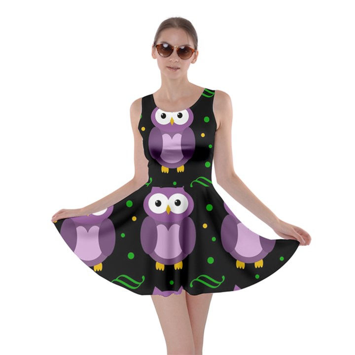 Halloween purple owls pattern Skater Dress