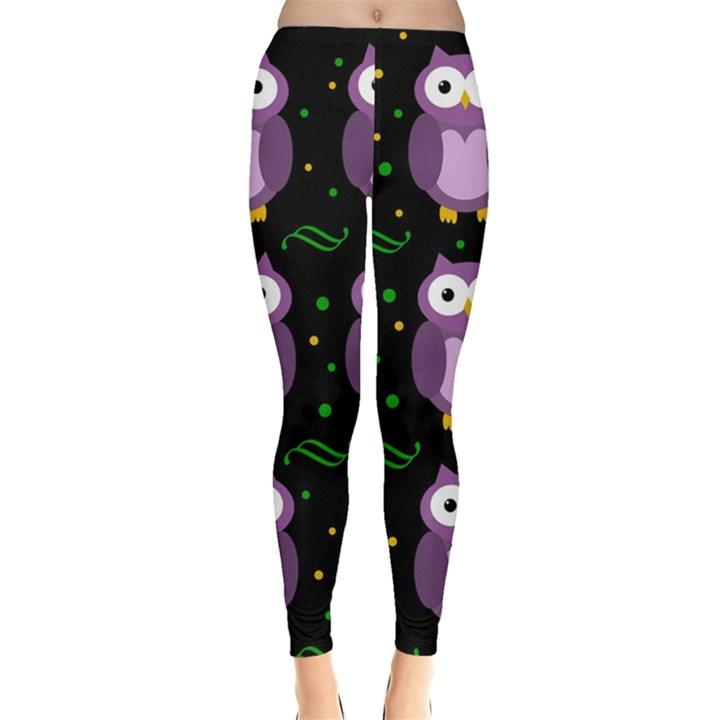 Halloween purple owls pattern Leggings