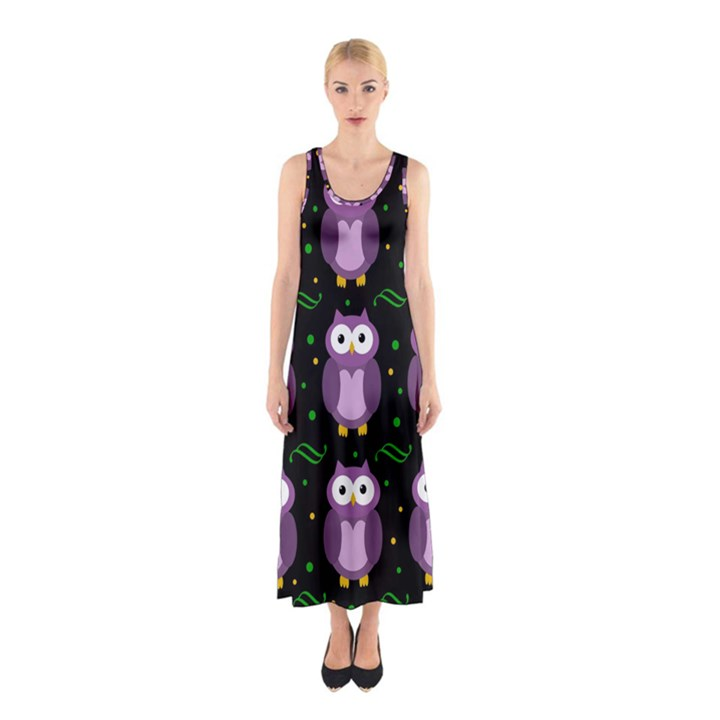 Halloween purple owls pattern Sleeveless Maxi Dress
