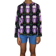 Halloween Purple Owls Pattern Kids  Long Sleeve Swimwear