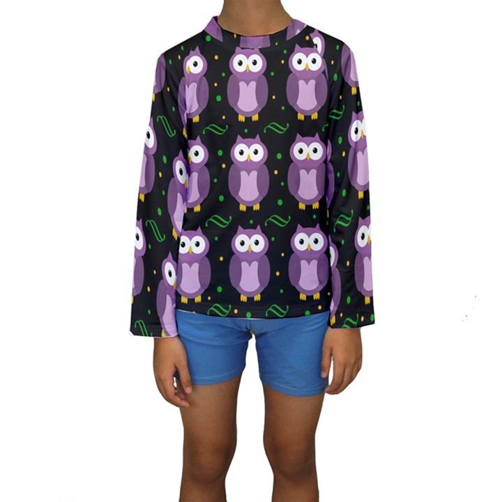 Halloween purple owls pattern Kids  Long Sleeve Swimwear