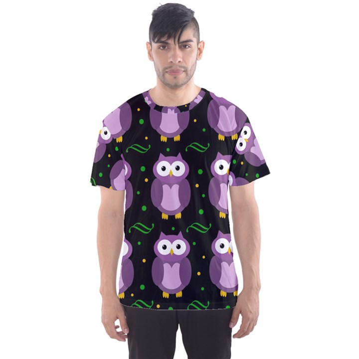Halloween purple owls pattern Men s Sport Mesh Tee