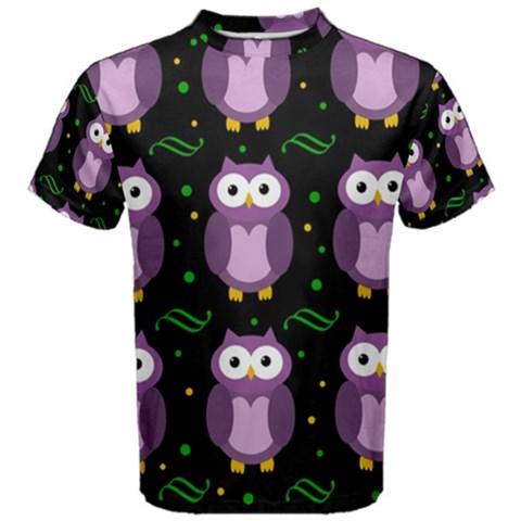 Halloween purple owls pattern Men s Cotton Tee
