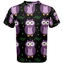 Halloween purple owls pattern Men s Cotton Tee View1