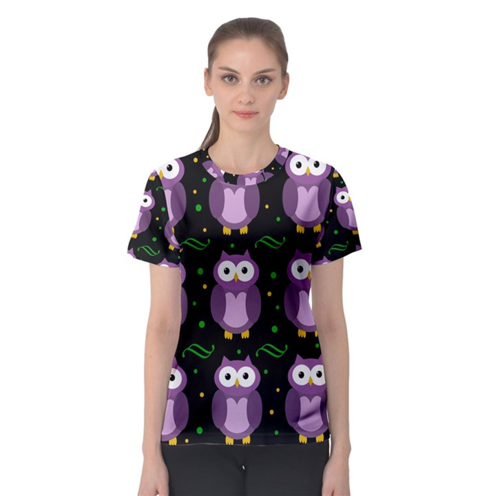Halloween purple owls pattern Women s Sport Mesh Tee