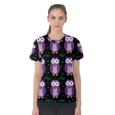 Halloween purple owls pattern Women s Cotton Tee