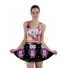 Halloween purple owls pattern Mini Skirt