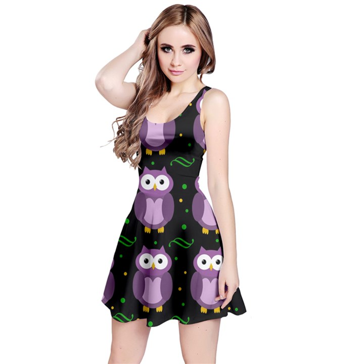 Halloween purple owls pattern Reversible Sleeveless Dress