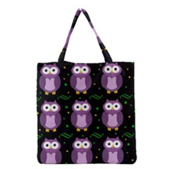 Halloween Purple Owls Pattern Grocery Tote Bag