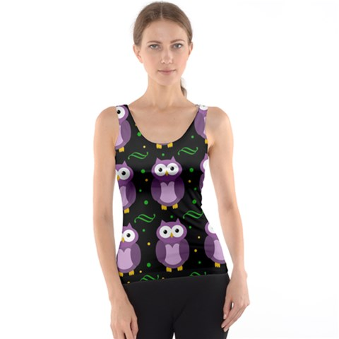 Halloween purple owls pattern Tank Top