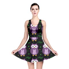 Halloween purple owls pattern Reversible Skater Dress
