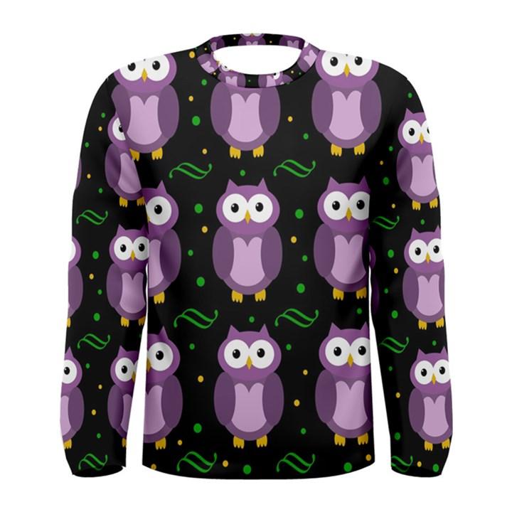 Halloween purple owls pattern Men s Long Sleeve Tee