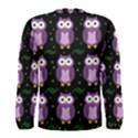 Halloween purple owls pattern Men s Long Sleeve Tee View2