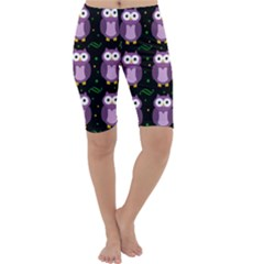 Halloween purple owls pattern Cropped Leggings