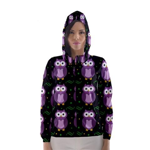 Halloween purple owls pattern Hooded Wind Breaker (Women)
