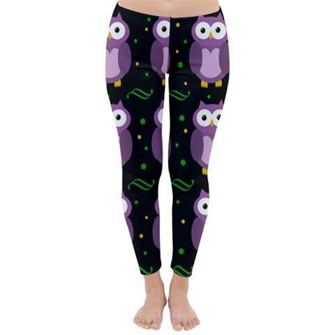 Halloween purple owls pattern Winter Leggings