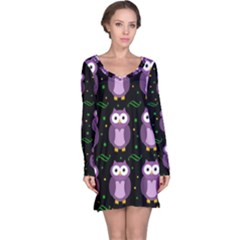 Halloween Purple Owls Pattern Long Sleeve Nightdress