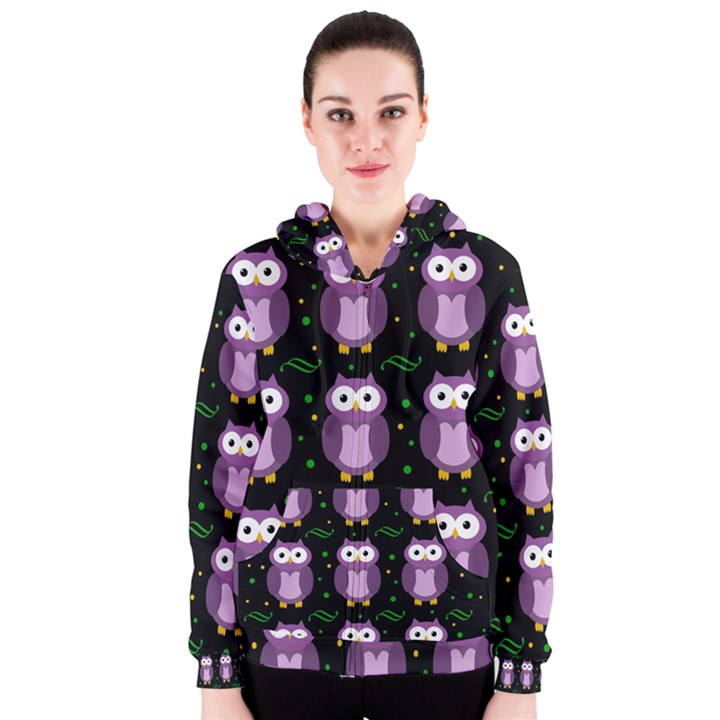 Halloween purple owls pattern Women s Zipper Hoodie