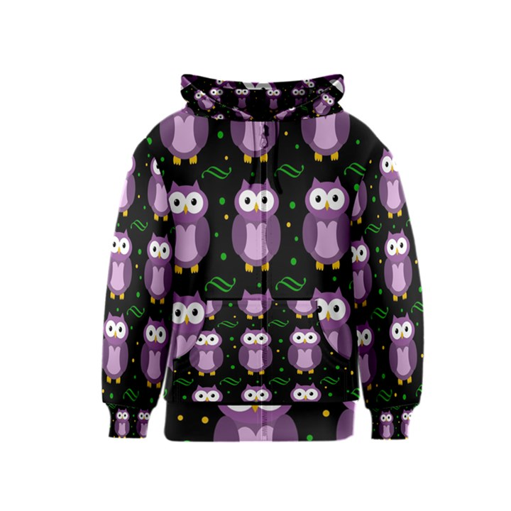 Halloween purple owls pattern Kids  Zipper Hoodie