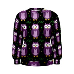 Halloween Purple Owls Pattern Women s Sweatshirt