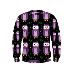Halloween purple owls pattern Kids  Sweatshirt