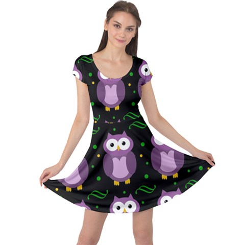 Halloween purple owls pattern Cap Sleeve Dresses