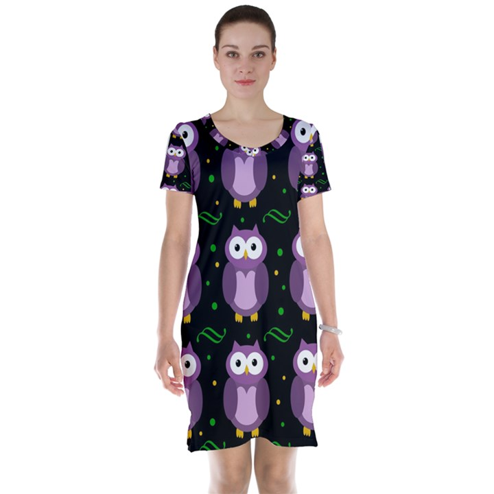 Halloween purple owls pattern Short Sleeve Nightdress