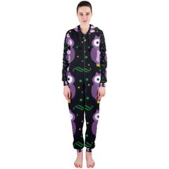 Halloween Purple Owls Pattern Hooded Jumpsuit (ladies)