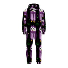 Halloween purple owls pattern Hooded Jumpsuit (Kids)