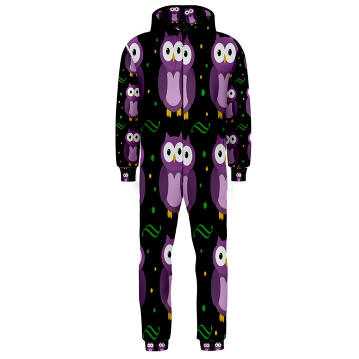 Halloween purple owls pattern Hooded Jumpsuit (Men)