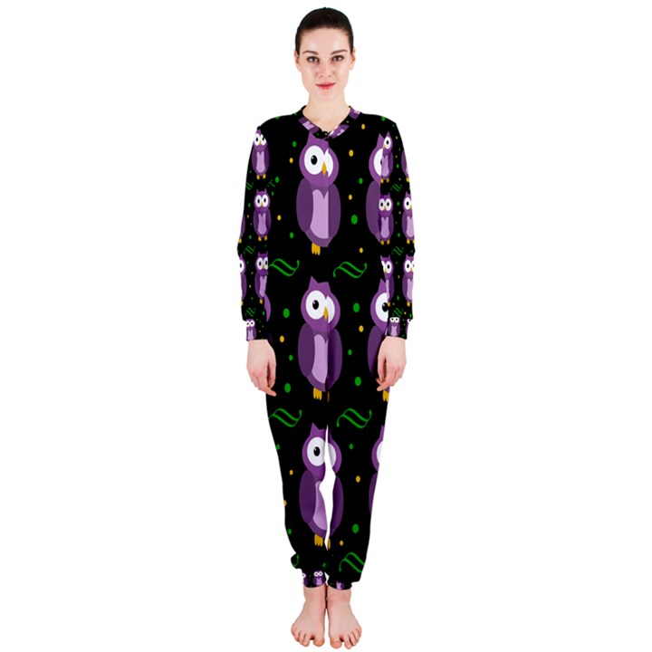 Halloween purple owls pattern OnePiece Jumpsuit (Ladies)