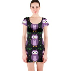 Halloween Purple Owls Pattern Short Sleeve Bodycon Dress