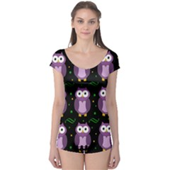 Halloween purple owls pattern Boyleg Leotard