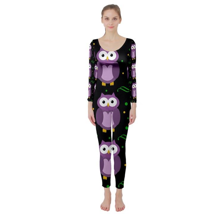 Halloween purple owls pattern Long Sleeve Catsuit